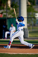 Dunedin Blue Jays Demi Orimoloye (6) bats during a Florida State League game against the Lakeland Flying Tigers on April 18, 2019 at Jack Russell Memorial Stadium in Clearwater, Florida.  Dunedin defeated Lakeland 6-2.  (Mike Janes/Four Seam Images)