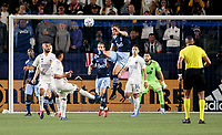 CARSON, CA - MARCH 07: Jasser Khmiri #20 of the Vancouver Whitecaps clears a ball from the box during a game between Vancouver Whitecaps and Los Angeles Galaxy at Dignity Health Sports Park on March 07, 2020 in Carson, California.