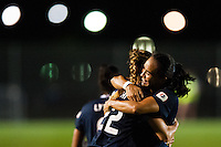 Sky Blue FC forward Monica Ocampo (8) celebrates scoring her second goal of the match. Sky Blue FC and FC Kansas City played to a 2-2 tie during a National Women's Soccer League (NWSL) match at Yurcak Field in Piscataway, NJ, on June 26, 2013.