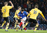 Sebastien Faure swings and misses the ball as Rangers have their last chance to score in front of goal