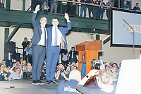 Democratic presidential candidate and former South Bend, Ind., mayor Pete Buttigieg and husband Chasten Buttigieg wave to the crowd after Pete spoke at his Primary Night rally at Nashua Community College in Nashua, New Hampshire, on Tue., Feb. 11, 2020. Democratic presidential candidate and Vermont senator Bernie Sanders was projected to win the New Hampshire Democratic Primary, but Buttigieg came in a close second.