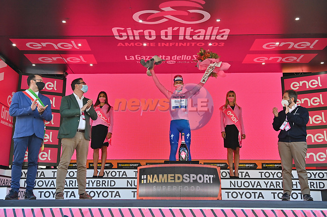 Race leader Joao Almeida (POR) Deceuninck-Quick Step retains the Maglia Rosa at the end of Stage 6 of the 103rd edition of the Giro d'Italia 2020 running 188km from Castrovillari to Matera, Sicily, Italy. 7th October 2020.  <br /> Picture: LaPresse/Massimo Paolone | Cyclefile<br /> <br /> All photos usage must carry mandatory copyright credit (© Cyclefile | LaPresse/Massimo Paolone)