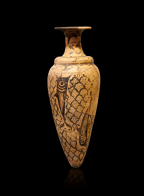 Minoan conical rhython decorated with dolphins against a net pattern , Special Palatial Tradition, Pseira  1500-1400 BC BC, Heraklion Archaeological  Museum, black background.