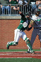 Charlotte 49ers catcher Derek Fritz (26) makes a throw to second base against the Marshall Thundering Herd at Hayes Stadium on April 23, 2016 in Charlotte, North Carolina. The Thundering Herd defeated the 49ers 10-5.  (Brian Westerholt/Four Seam Images)