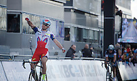 race winner Alexander Kristoff (NOR/Katusha) crossing the finish line with Niki Terpstra (NLD/Etixx-QuickStep) close behind<br /> <br /> 99th Ronde van Vlaanderen 2015