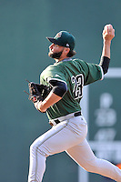 Starting pitcher Michael Connolly (23) of the Augusta GreenJackets delivers a pitch in a game against the Greenville Drive on Thursday, June 9, 2016, at Fluor Field at the West End in Greenville, South Carolina. Augusta won, 8-2. (Tom Priddy/Four Seam Images)