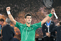 January 2, 2020: 2nd seed NOVAK DJOKOVIC (SRB) celebrates after defeating 5th seed DOMINIC THIEM (AUT) on Rod Laver Arena in the Men's Singles Final match on day 14 of the Australian Open 2020 in Melbourne, Australia. Photo Sydney Low