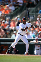 Baltimore Orioles outfielder Alejandro De Aza (12) during a Spring Training game against the Tampa Bay Rays on March 14, 2015 at Ed Smith Stadium in Sarasota, Florida.  Tampa Bay defeated Baltimore 3-2.  (Mike Janes/Four Seam Images)