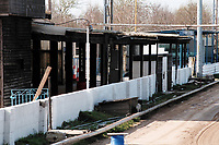 The main stand at Glastonbury FC Football Ground, Abbey Moor Stadium, Glastonbury, Somerset, pictured on 27th March 1997