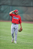 Matt Leon (31) of the Orem Owlz before the game against the Ogden Raptors at Lindquist Field on June 20, 2019 in Ogden, Utah. The Owlz defeated the Raptors 11-8. (Stephen Smith/Four Seam Images)