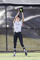 Bentonville left fielder Alleyna Rushing (24) forces an out, Thursday, April 29, 2021 during a softball game at Bentonville High School in Bentonville. Check out nwaonline.com/210430Daily/ for today's photo gallery. <br /> (NWA Democrat-Gazette/Charlie Kaijo)