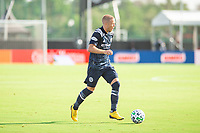 LAKE BUENA VISTA, FL - JULY 9: Anton Tinnerholm #3 of NYFC dribbles the ball during a game between New York City FC and Philadelphia Union at Wide World of Sports on July 9, 2020 in Lake Buena Vista, Florida.