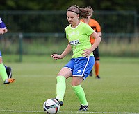 20150904 - TUBIZE , BELGIUM : Genk's Riete Loos pictured during a soccer match between the women teams of RSC Anderlecht and KRC Genk Ladies  , on the second matchday of the 2015-2016 SUPERLEAGUE season, Friday 4  September 2015 . PHOTO DAVID CATRY