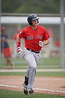 Boston Red Sox Bobby Dalbec (19) runs to first base during a minor league Spring Training intrasquad game on March 31, 2017 at JetBlue Park in Fort Myers, Florida. (Mike Janes/Four Seam Images)