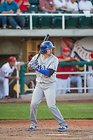 Ryan Scott (15) of the Ogden Raptors at bat against the Orem Owlz in Pioneer League action at Home of the Owlz on June 20, 2015 in Provo, Utah.The Raptors defeated the Owlz 9-6. (Stephen Smith/Four Seam Images)