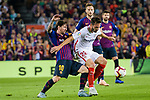 Lionel Messi of FC Barcelona (L) fights for the ball with Franco Vazquez of Sevilla FC (R) during the La Liga 2018-19 match between FC Barcelona and Sevilla FC at Camp Nou Stadium on October 20 2018 in Barcelona, Spain. Photo by Vicens Gimenez / Power Sport Images