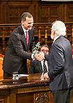 "Antonio Fraguas de Pablo ""Forjes"" and the Spanish king, Felipe VI during the Quevedos, an  iberoamerican award of grafic humor 2014. May 26,2016. (ALTERPHOTOS/Rodrigo Jimenez)"