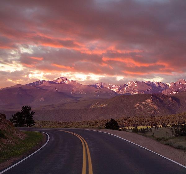 Mountain road leading to Longs Peak, Rocky Mountain National Park, Colorado,