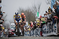Kenneth Van Rooy (BEL/Sport Vlaanderen Baloise) and Jesper Asselman (NED/roompot charles) in the early breakaway group over the Oude Kwaremont. <br /> <br /> <br /> 103rd Ronde van Vlaanderen 2019<br /> One day race from Antwerp to Oudenaarde (BEL/270km)<br /> <br /> ©kramon