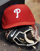 Philadelphia Phillies hat. Photo by Andrew Woolley / Four Seam Images..