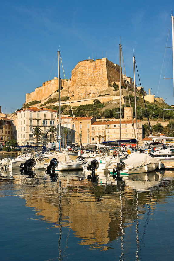 Bonifacio.  Old port, lower town and Citadel. Bastion de l'Etendard. Corsica. France.