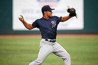 Pulaski Yankees pitcher Jhonatan Munoz (36) warms up before a game against the Greeneville Reds on July 27, 2018 at Pioneer Park in Tusculum, Tennessee.  Greeneville defeated Pulaski 3-2.  (Mike Janes/Four Seam Images)