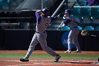 Daylan Nanny (9) of the Western Carolina Catamounts follows through on his swing against the Kennesaw State Owls at Springs Brooks Stadium on February 22, 2020 in Conway, South Carolina. The Owls defeated the Catamounts 12-0.  (Brian Westerholt/Four Seam Images)