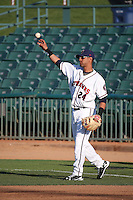 Yulieski Gurriel (24) of the Lancaster JetHawks throws before a game against the Lake Elsinore Storm at The Hanger on August 2, 2016 in Lancaster, California. Lake Elsinore defeated Lancaster, 10-9. (Larry Goren/Four Seam Images)