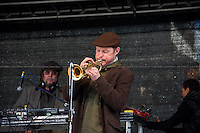 """(From L to R) Jerry Dammers (British musician who is a founder, keyboard player and primary songwriter of the Coventry, England based ska revival band The Specials, The Special A.K.A. and The Spatial AKA Orchestra) & ...<br /> <br /> London, 22/03/2014. """"Stand Up To Racism & fascism - No to Scapegoating Immigrants, No to Islamophobia, Yes to Diversity"""", national demo marking UN Anti-Racism Day organised by TUC (Trade Union Congress) and UAF (Unite Against Fascism).<br /> <br /> For more information please click here: http://www.standuptoracism.org.uk/"""