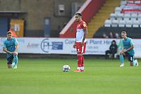 Elliott List of Stevenage FC does not take the knee at the start during Stevenage vs Exeter City, Sky Bet EFL League 2 Football at the Lamex Stadium on 9th October 2021