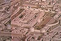 Rome: Model--Baths of Diocletian, 298-306 AD. To right, semi-circle, present-day Piazza Della Republica. Ref. only.