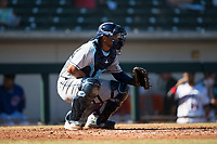Peoria Javelinas catcher Ronaldo Hernandez (10), of the Tampa Bay Rays organization, during an Arizona Fall League game against the Mesa Solar Sox at Sloan Park on November 6, 2018 in Mesa, Arizona. Mesa defeated Peoria 7-5 . (Zachary Lucy/Four Seam Images)