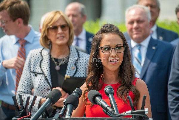 United States Representative Lauren Boebert (Republican of Colorado) offers remarks during a press conference regarding an Amicus Brief urging the Supreme Court to overturn a 110 year-old New York gun law that imposes limits on carrying weapons outside of the home, at the US Capitol in Washington, DC, Tuesday, July 20, 2021. Credit: Rod Lamkey / CNP /MediaPunch