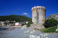 Torra di Miomu, a historic Genoese tower on the beach at Cape Corse, Corsica, France.