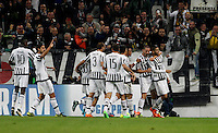 Calcio, Champions League: Gruppo D - Juventus vs Siviglia. Torino, Juventus Stadium, 30 settembre 2015.  <br /> Juventus' Alvaro Morata, right, celebrates with teammates after scoring during the Group D Champions League football match between Juventus and Sevilla at Turin's Juventus Stadium, 30 September 2015.<br /> UPDATE IMAGES PRESS/Isabella Bonotto