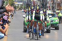 TUNJA - COLOMBIA, 11-02-2020: ORGULLO PAISA, COL durante la primera etapa del Tour Colombia 2.1 2020 con un recorrido de 16,7 km CRE, que se corrió con salida y llegada enTunja, Boyacá. / ORGULLO PAISA, COL during the first stage of 16,7 km TTT of Tour Colombia 2.1 2020 that ran with start and arrival in Tunja, Boyaca.  Photo: VizzorImage / Darlin Bejarano / Cont