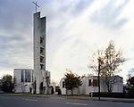 Heilig Geist-Kirche am Klieversberg, Wolfsburg, 1958 - 1962. Overall exterior.