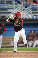 Batavia Muckdogs second baseman Taylor Munden (21) at bat during a game against the Vermont Lake Monsters August 9, 2015 at Dwyer Stadium in Batavia, New York.  Vermont defeated Batavia 11-5.  (Mike Janes/Four Seam Images)