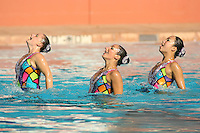 STANFORD, CA - FEBRUARY 13:  Corinne Smith, Megan Hansley and Wendy Lu of the Stanford Cardinal during Stanford's win over Arizona on February 13, 2010 at the Avery Aquatic Center in Stanford, California.
