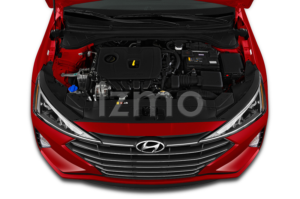 Car Stock 2020 Hyundai Elantra SEL 4 Door Sedan Engine  high angle detail view