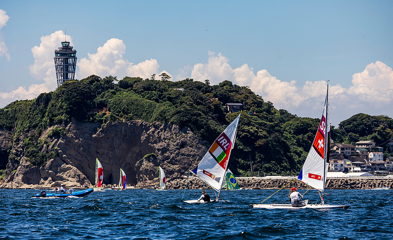 Ireland's Annalise Murphy out practising on the Olympic race course at the Enoshima Yacht Harbour this week.