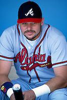 Ryan Klesko of the Atlanta Braves participates in a Major League Baseball game at Dodger Stadium during the 1998 season in Los Angeles, California. (Larry Goren/Four Seam Images)