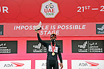 Thomas De Gendt (BEL) Lotto Soudal takes over the intermediate sprints Black Jersey at the finish of Stage 5 of the 2021 UAE Tour running 170km from International Marine Club Fujairah to Jebel Jais, Fujairah, UAE. 25th February 2021. <br /> Picture: LaPresse/Gian Mattia D'Alberto   Cyclefile<br /> <br /> All photos usage must carry mandatory copyright credit (© Cyclefile   LaPresse/Gian Mattia D'Alberto)