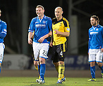 St Johnstone v Livingston.....30.11.13     Scottish Cup 4th Round<br /> Brian Easton and former team mate Simon Mensing<br /> Picture by Graeme Hart.<br /> Copyright Perthshire Picture Agency<br /> Tel: 01738 623350  Mobile: 07990 594431