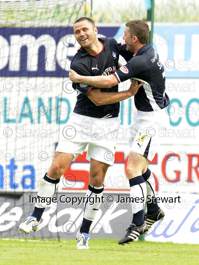 10/05/2008   Copyright Pic: James Stewart.File Name : sct_jspa03_falkirk_v_ict.MICHAEL HIGDON CELEBRATES WITH THOMAS SCOBBIE AFTER HE SCORES FALKIRK'S FIRST.James Stewart Photo Agency 19 Carronlea Drive, Falkirk. FK2 8DN      Vat Reg No. 607 6932 25.Studio      : +44 (0)1324 611191 .Mobile      : +44 (0)7721 416997.E-mail  :  jim@jspa.co.uk.If you require further information then contact Jim Stewart on any of the numbers above........