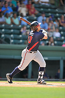 Third baseman Austin Riley (13) of the Rome Braves bats in a game against the Greenville Drive on Sunday, July 31, 2016, at Fluor Field at the West End in Greenville, South Carolina. Rome won, 6-3. (Tom Priddy/Four Seam Images)