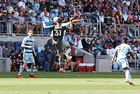 ST. PAUL, MN - AUGUST 21: Hassani Dotson #31 of Minnesota United FC during a game between Sporting Kansas City and Minnesota United FC at Allianz Field on August 21, 2021 in St. Paul, Minnesota.