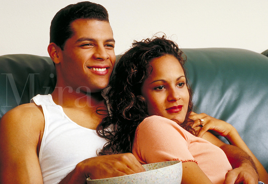 Series of various expressions and moods of young ethnic couple in love. Young ethnic couple. Houston Texas USA.