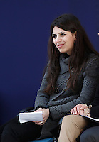 Syrian refugee Nour Essa waits for a meeting between Pope Francis and students at Roma Tre University in Rome, on February 17, 2017. Nour Essa is one of the refugees arrived in Rome with Pope Francis after his visit from the Greek island of Lesbos. <br /> UPDATE IMAGES PRESS/Isabella Bonotto<br /> <br /> STRICTLY ONLY FOR EDITORIAL USE