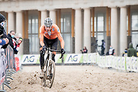 Mathieu Van der Poel (NED/Alpecin-Fenix) on his way to a 4th Elite World Champion Title<br /> <br /> UCI 2021 Cyclocross World Championships - Ostend, Belgium<br /> <br /> Elite Men's Race<br /> <br /> ©kramon
